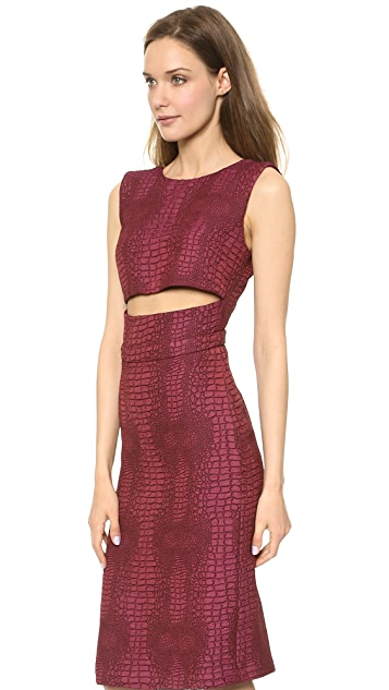 Sally LaPointe Jacquard Cutout Waist Dress
