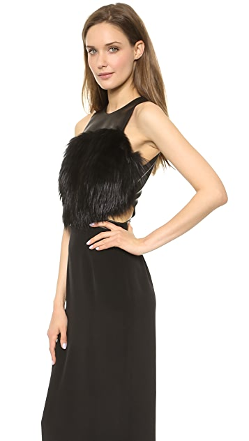 Sally LaPointe Cutout Gown with Fur Bodice