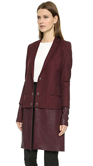 Sally LaPointe Double Layer Coat with Leather