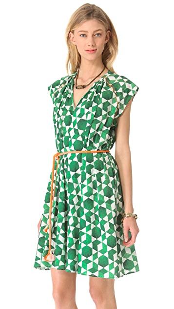Saloni Mira Cap Sleeve Dress