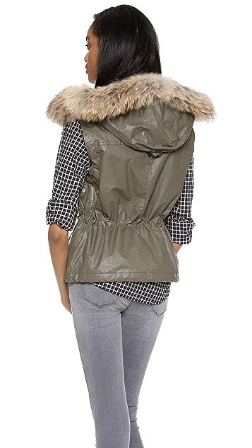 SAM. Madison Drawstring Vest with Fur Trim