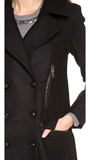 SAM. Boyfriend Pea Coat with Fur Collar