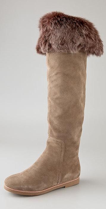 Sam Edelman Orlando Suede Boots with Fur Cuff