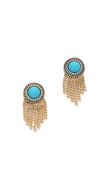 Sam Edelman Stone Fringe Stud Earrings