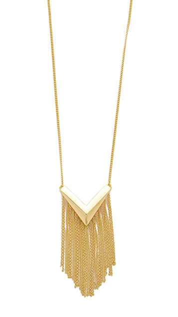 Sam Edelman Long V Fringe Pendant Necklace