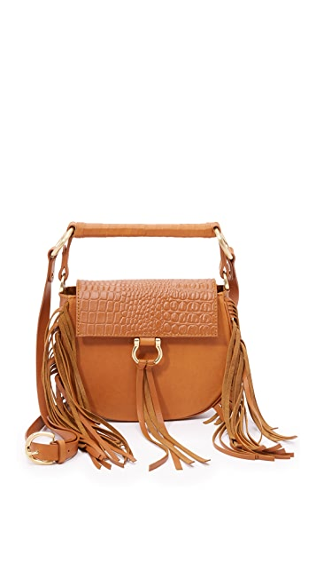 SANCIA Croc Embossed Babylon Saddle Bag