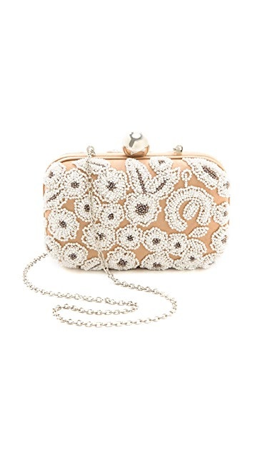 Santi White Embroidered Box Clutch