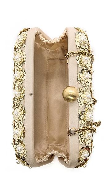 Santi Imitation Pearl Studded Box Clutch