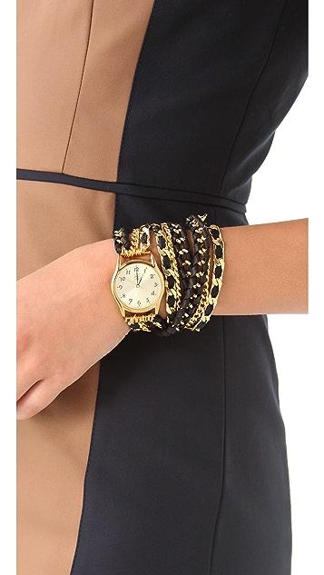 Sara Designs Lambskin Woven Wrap Watch