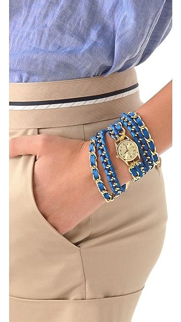 Sara Designs Small Lambskin Woven Wrap Watch