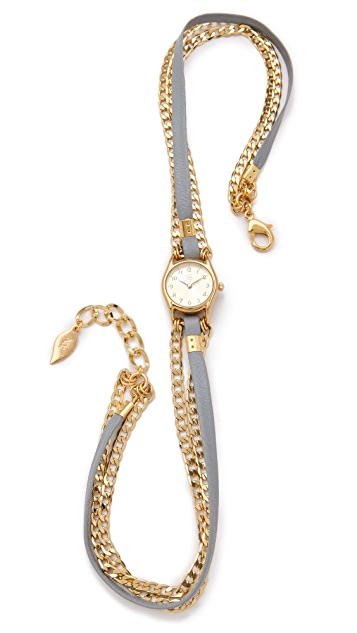 Sara Designs Classic Leather & Chain Wrap Watch