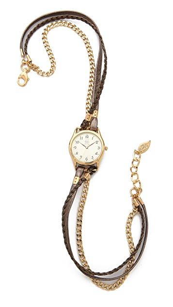 Sara Designs Metallic Leather & Chain Wrap Watch
