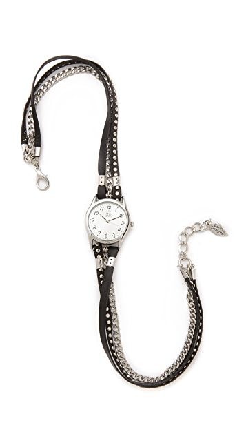 Sara Designs Studded Leather Wrap Watch