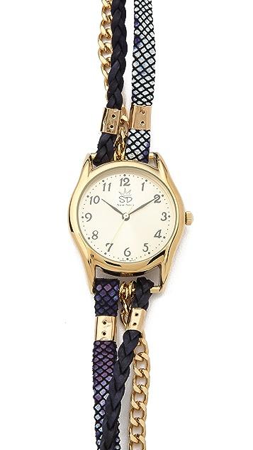 Sara Designs Print Leather & Chain Wrap Watch