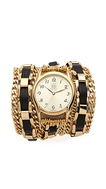 Sara Designs Woven Window Chain Wrap Watch