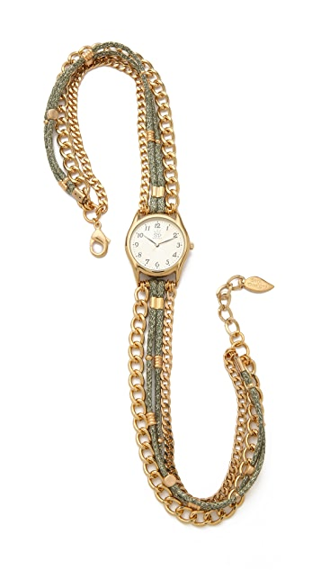 Sara Designs Metallic Silk & Chain Wrap Watch