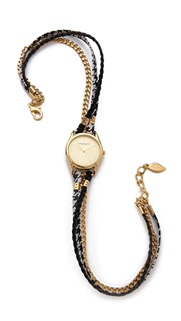 Sara Designs Houndstooth Chain Wrap Watch