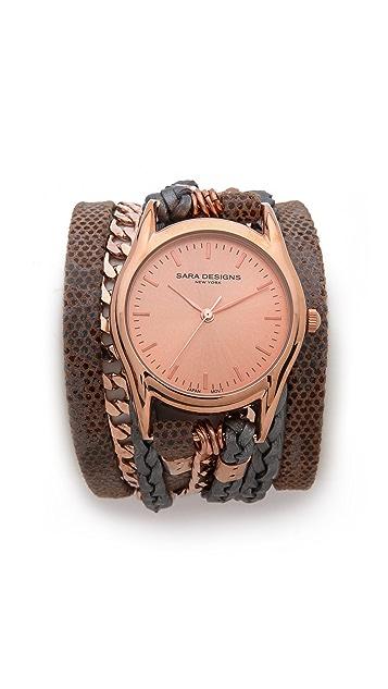Sara Designs Latte Chain Wrap Watch