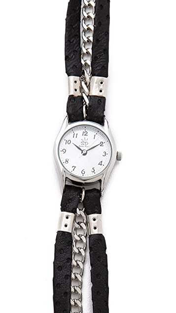 Sara Designs Perforated Leather Wrap Watch