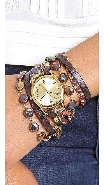 Sara Designs Coin Shaped Chain Wrap Watch