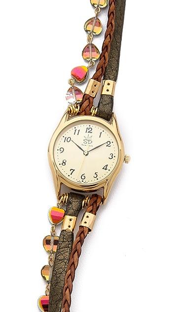Sara Designs Czech Glass Wrap Watch