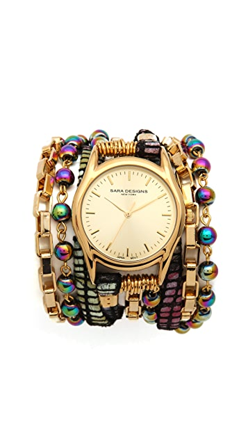 Sara Designs Stone & Crystal Wrap Watch