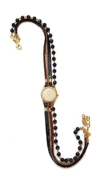 Sara Designs Agate Bead Wrap Watch