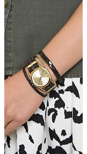 Sara Designs Leather Multi Strand Magnet Watch