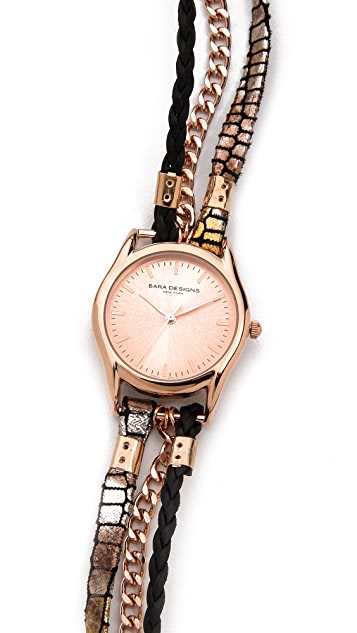 Sara Designs Printed Leather Wrap Watch