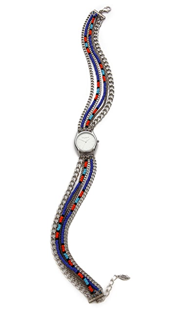 Sara Designs Beaded Chain Wrap Watch