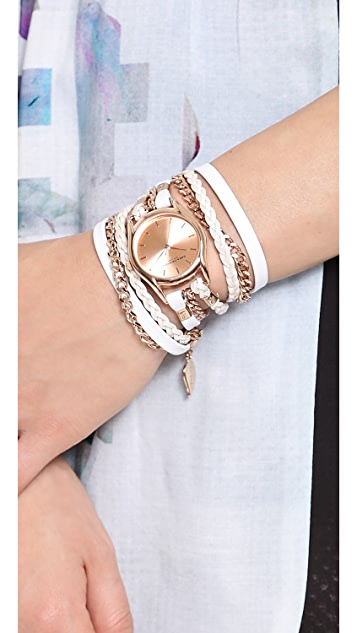 Sara Designs Leather & Chain Wrap Watch