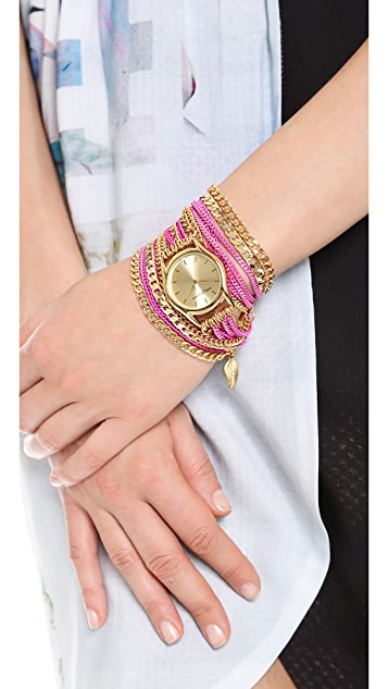 Sara Designs Colorwash Chain Wrap Watch