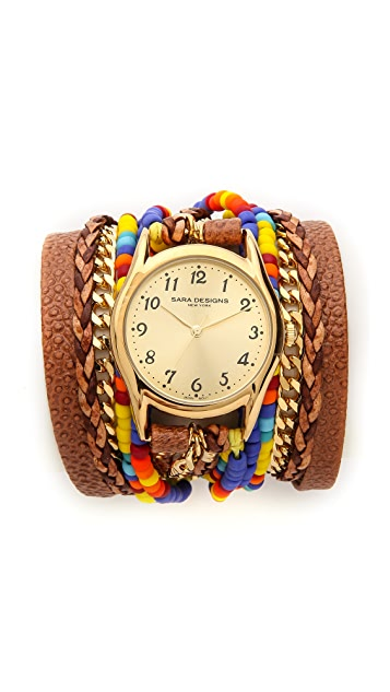 Sara Designs Beaded & Leather Wrap Watch