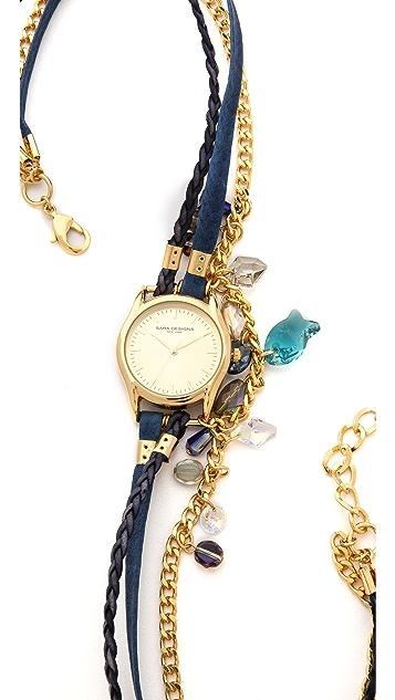 Sara Designs Crystal Chain Wrap Watch