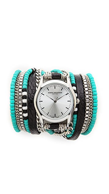 Sara Designs Chain & Bead Wrap Watch