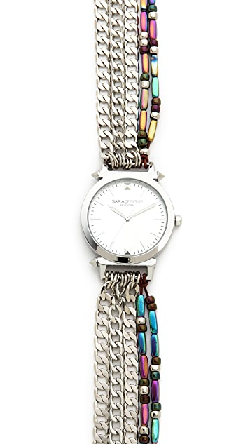 Sara Designs Stone & Chain Wrap Watch
