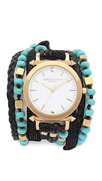 Sara Designs Turquoise Beaded Wrap Watch