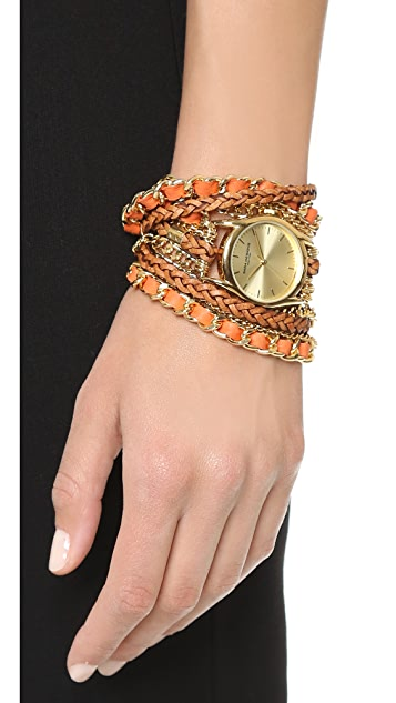 Sara Designs Woven Leather Wrap Watch