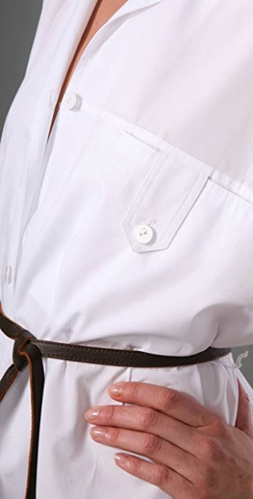 Sari Gueron Kimono Sleeve Shirt Dress with Leather Belt