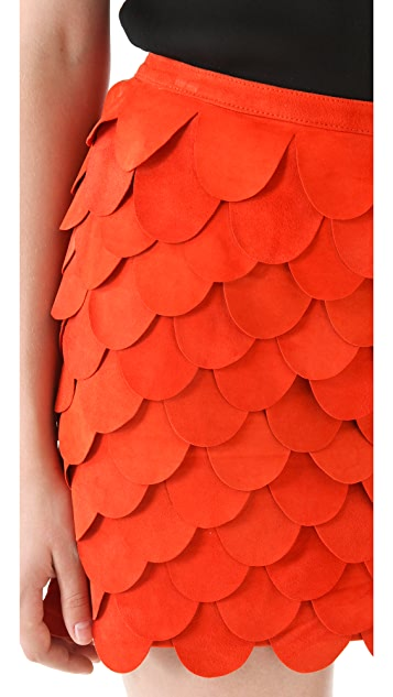 sass & bide Companion Scalloped Suede Skirt