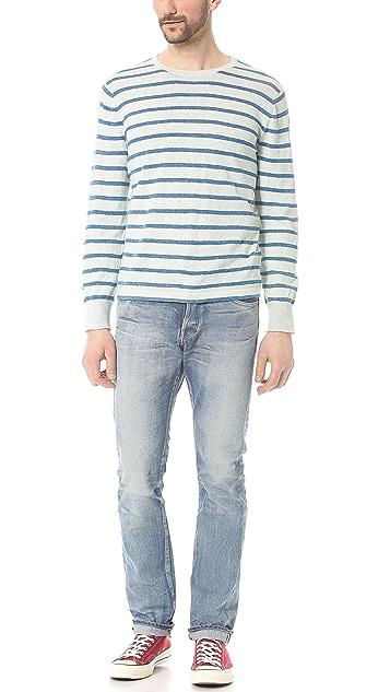 Save Khaki Long Sleeve Stripe Sweater