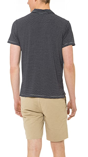 Save Khaki Short Sleeve Stripe Polo