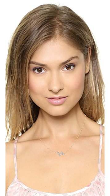 Sarah Chloe Small Diamond Heartbeat Necklace