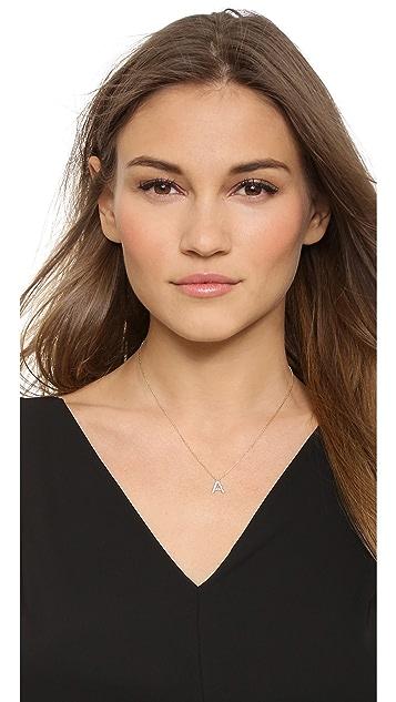 Sarah Chloe Diamond Letter Gold Necklace