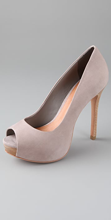 Schutz Open Toe Nubuck Pumps