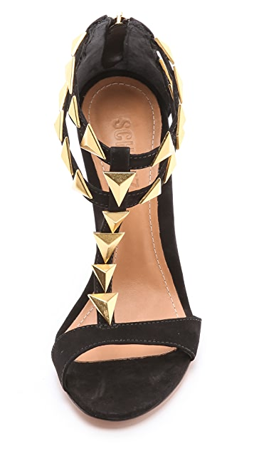 Schutz Iris Shark Tooth Suede Sandals