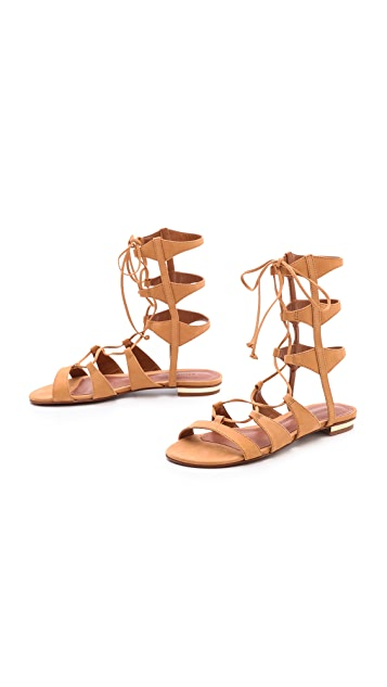 Schutz Erlina Flat Lace Up Sandals