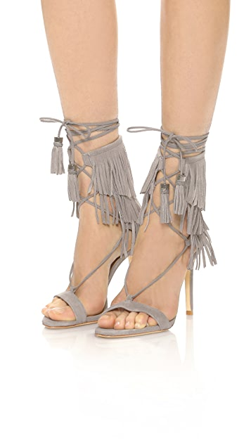Schutz Kija Suede Fringe Sandals