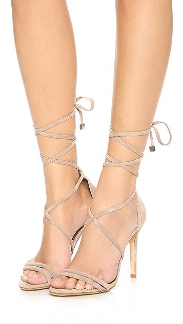 Schutz Lola Suede Ankle Wrap Sandals