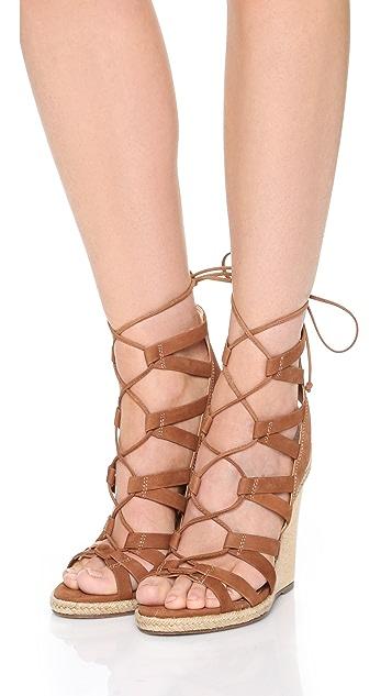 Schutz Eime Lace Up Wedge Sandals